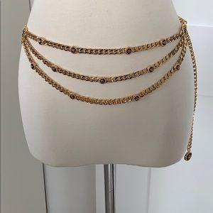 New St. John gold plated &dark brown enameled belt